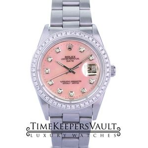 Rolex Oyster Perpetual Date Pink MOP Diamond Watch